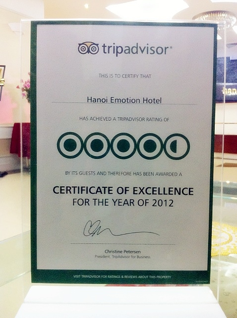 Excellence Hotels Certificate
